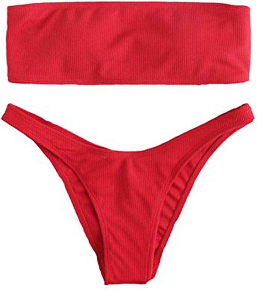 SOLYHUX Mujer Conjunto De Bikini Rojo Bandeau con Cordón,Push Up Básico +2 PCS Traje de Baño 2019 Verano Sexy