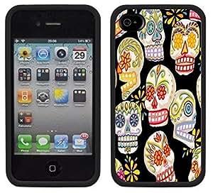 Day of the Dead Dia de los Muertos Handmade iPhone 4 4S Black Case