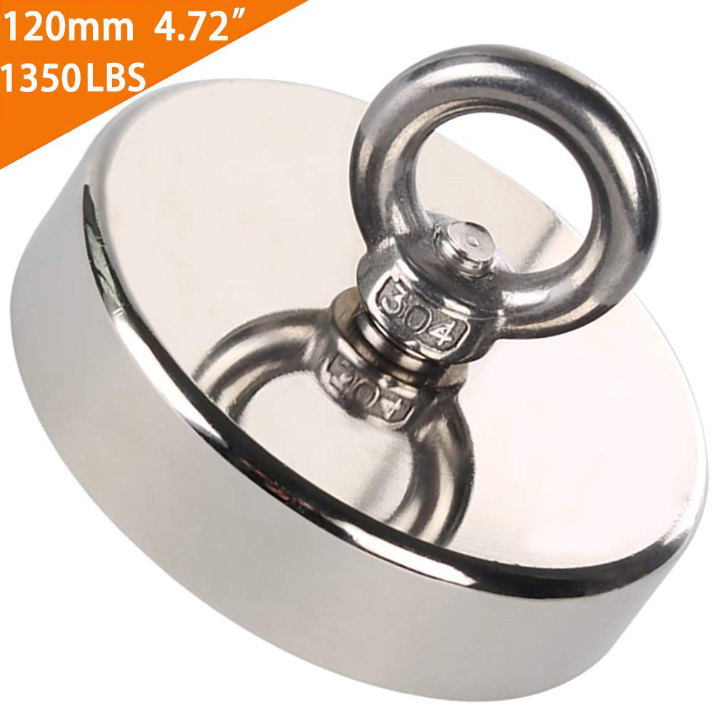 EVISWIY Fishing Magnets N52 Neodymium Rare Earth 1350LBS Dia. 120mm 4.73'' for Treasure Hunting Underwater Retrieving Salvage Powerful Heavy Duty Large Super Strong Magnet Fishing