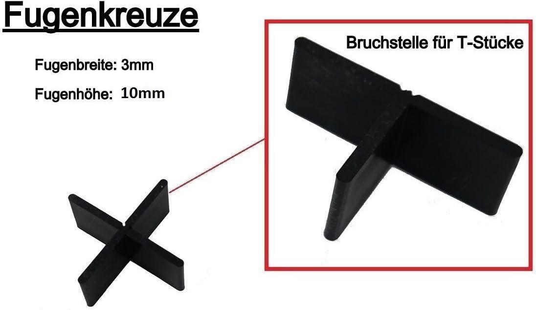 3 mm//10 mm Fugenkreuze 3-10 Fliesenkreuze f/ür Terrassenplatten Bodenplatten 400 St/ück, -#3056