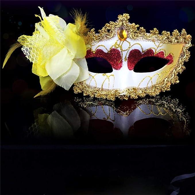 Watopi Máscara de Encaje con diseño de Flores para Halloween ...