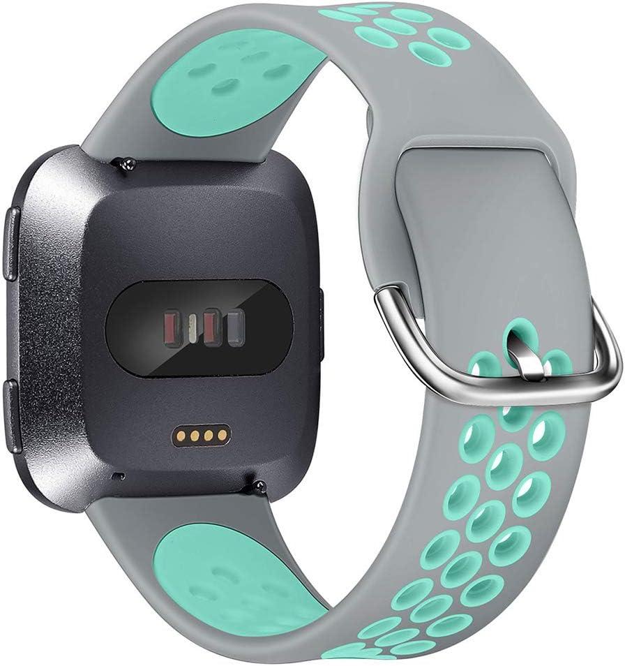 5,9-7,6 Inch XIMU Compatible con Fitbit Versa//Versa 2//Versa Lite Correa de Recambio Tejida,Silicona de Sport Mujeres Ccorreas de Fitbit Versa//Versa 2//Versa Lite , Blanco Gris Claro S