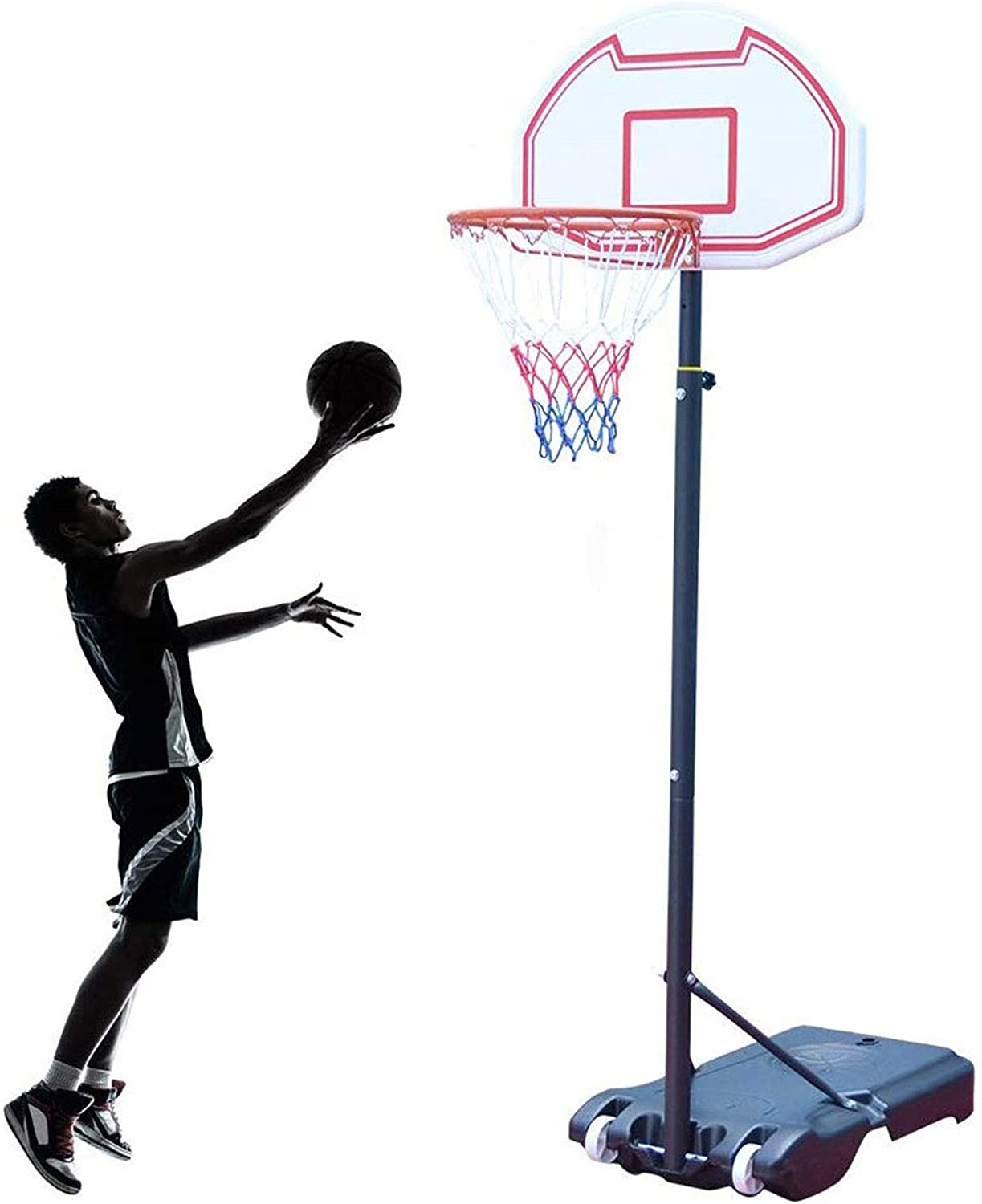 NORTHERN STONE Junior Height Adjustable Basketball Hoop Free Standing Portable Basketball Stand for Kids