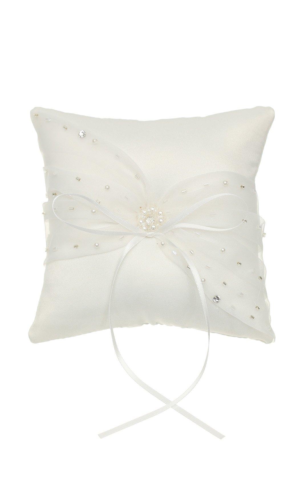 SAMKY Venus Jewelry Crystal Beads Lace Bow Wedding Ring Bearer Pillow 5 Inch x 5 Inch - Ivory RP011I by SAMKY