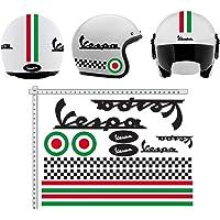 senza marca Stickers voor helm, Vespa, zwart, Italië, vinyl, glanzend, gesorteerd