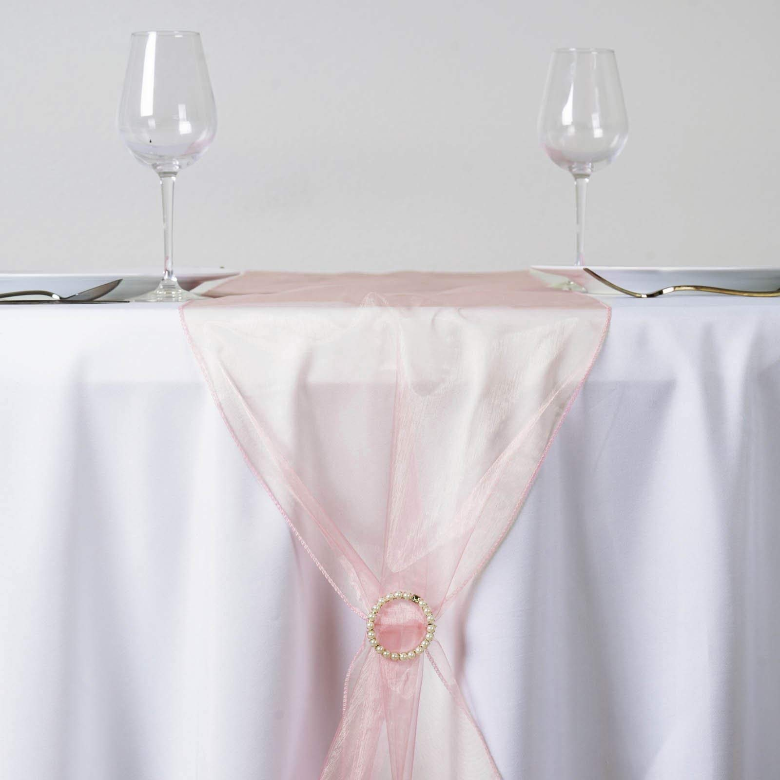 Efavormart Blush Premium Organza Table Top Runner for Weddings Birthday Party Banquets Decor Fit Rectangle and Round Table