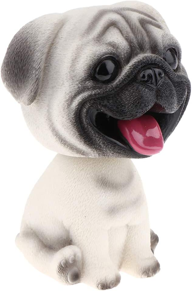 Cute Bobble Head Dogs for Cars Dashboards Auto, Mini Animal Figures, Home Office Desktop Decoration - Pug
