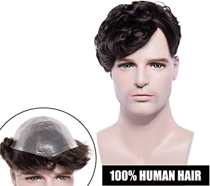 Elailite® Pelucas Hombre Pelo Natural Protesis Capilar Hombre Indetectable Remy Human Hair Cabello Humano [ V Crochet +Tied] Base: 8