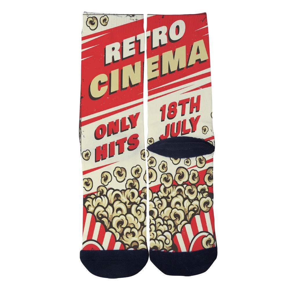 Retro Cinema Colorful Poster Bucket Boxes of Popcorn Socks Mens Womens Casual Socks Custom Creative Crew Socks