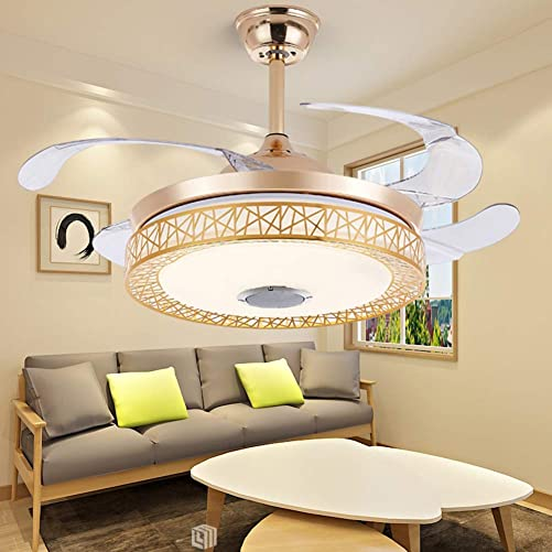 LUOLAN 42 Inches Retractable Ceiling Fan Light with Remote LED Dimmable Fan Chandelier with Bluetooth Speaker Music Ceiling Fans for Dining Room Living Room Gold