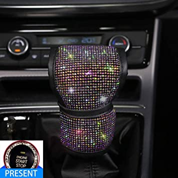 Bling Armrest Cover for Car,Universal Auto Center Console Pad Charming Luster Crystal Rhinestone Hooks 2pcs Car Interior Accessories for Women Armrest Box Cover Protector