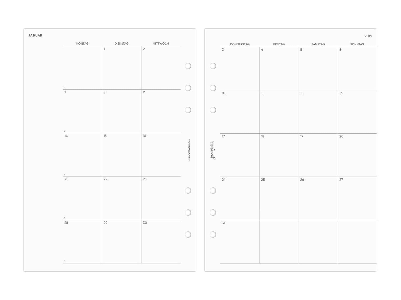 2019 Monatsüberischt für Ringplaner & Organizer - DIN A5-148x210mm - 1 Monat auf 2 Seiten - fortlaufend pen & pages