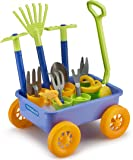 Educational Assorted Garden Wagon and Tools Play Set 15 Pc - Gardening Tools for Kids with Toy Wagon | 8 Gardening Tools | 4 Pots | Water Pail | Spray Bottle - Indoors | Outdoors - Beach | Backyard