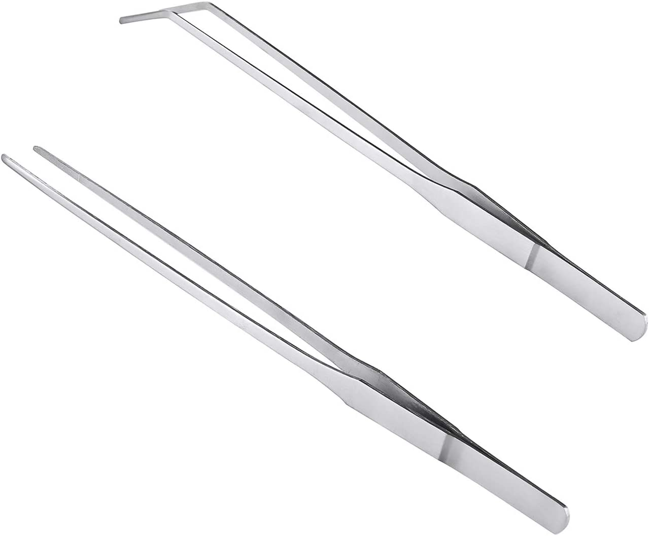 BoomYou 7.1 inches Stainless Steel Tweezers All-purpose Forceps Professional Tweezers Tongs and Comfortable Ridged Handle Feeding Straight Tweezer for Aquatic Pets or Corals Crafting Cooking Repairing