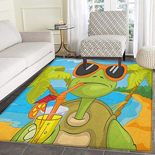 oom Cool Sea Turtle with Sunglasses Drinking Cocktail at The Beach Cartoon Circle Rugs for Living Room 2'x3' Green Orange Pale Blue ()