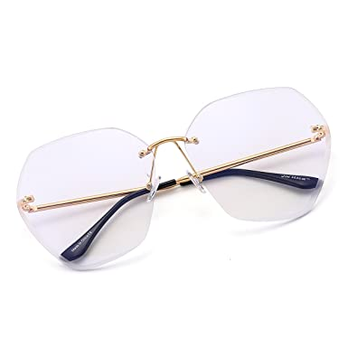 635416642de Oversize Rimless Gradient Sunglasses Square Clear Eyeglasses Women (Gold    Clear)  Amazon.co.uk  Clothing