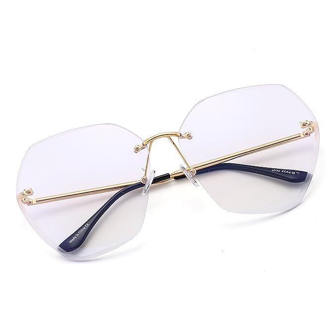 JIM HALO Gafas de Sol Sin Marco Gradiente Cuadrado Claro Anteojos Mujer (Dorado/Claro