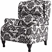Off-White Foam Recliner Chair and Black Floral Print, Wing Back Armchair Includes Custom Mouse Pad