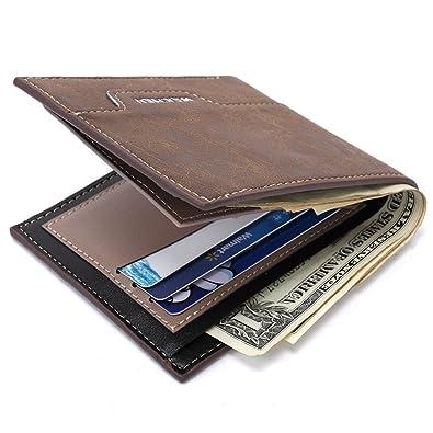 75c94e6771f3 Amazon.com: Saumota Mens Stylish Leather Wallet Money Clip Business ...