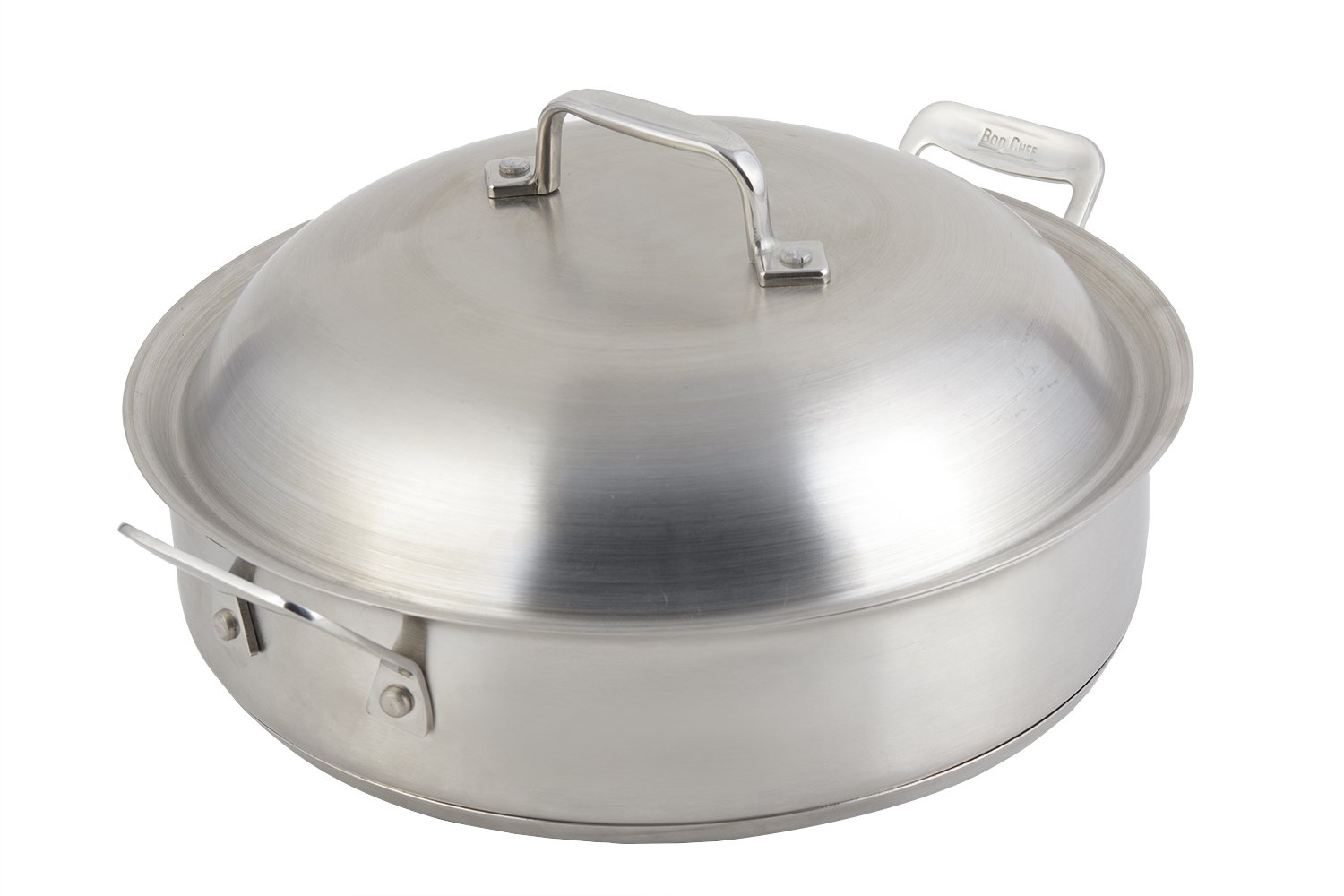 Bon Chef 60001 Stainless Steel Induction Bottom Cucina Saute Pan, 4 quart Capacity, 13-29/32'' Length x 11-19/64'' Width x 3'' Height