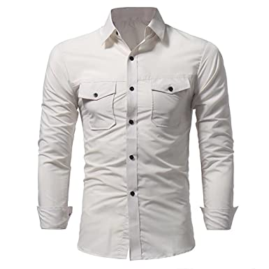 34c1ef0dc1f5 Discovery Men's Causal Slim Fit Button Down Shirt Long Sleeve Cotton Work  Shirts with Pockets(Cream XL): Amazon.co.uk: Clothing