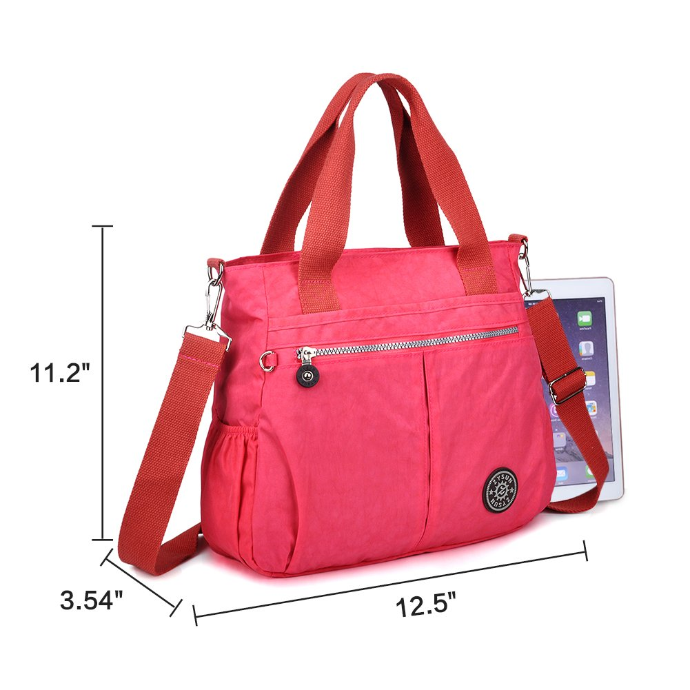 f6ad505575fb ZYSUN Womens Nylon Designer Tote Crossbody Handbags Shoulder Diaper Bag  UKNB-602(Bright Pink)  Amazon.co.uk  Shoes   Bags