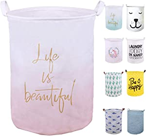 "SEAFOWL 19.7"" Collapsible Laundry Basket,Waterproof Round Canvas Large Clothes Basket Laundry Hamper with Handles, Cute Cartoon Kids Nursery Laundry Basket,Baby Gift.(Life Pink)"