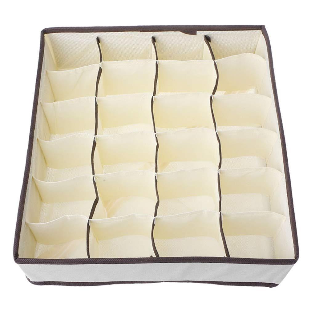 VADOLY 24 Cells Foldable Storage Closet Bra Socks Underwear Organizer Drawer Divider Home Organizers