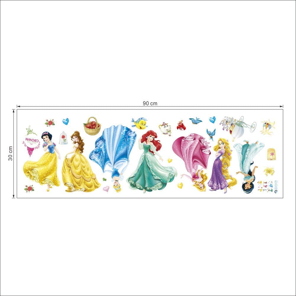Artes Decorativas Wall Stickers 30 B W H x 90 CM Kibi Princesas Disney Pegatinas De Pared Disney Stickers Infantiles Pared Princesas Casa De Pared Etiquetas De La Pared Ni/ños Dormitorio Bebe