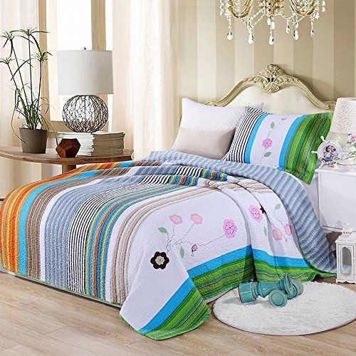 Price comparison product image Alicemall Girls Floral Bedding Soft Cotton Stripes and Flower Print Quilt Sets 2 Pieces Kids' Bedding Set Dorm Room Bedspreads Set, 1 Quilt and 1 Pillowcase, XL Twin Size (Multi Color Stripes)