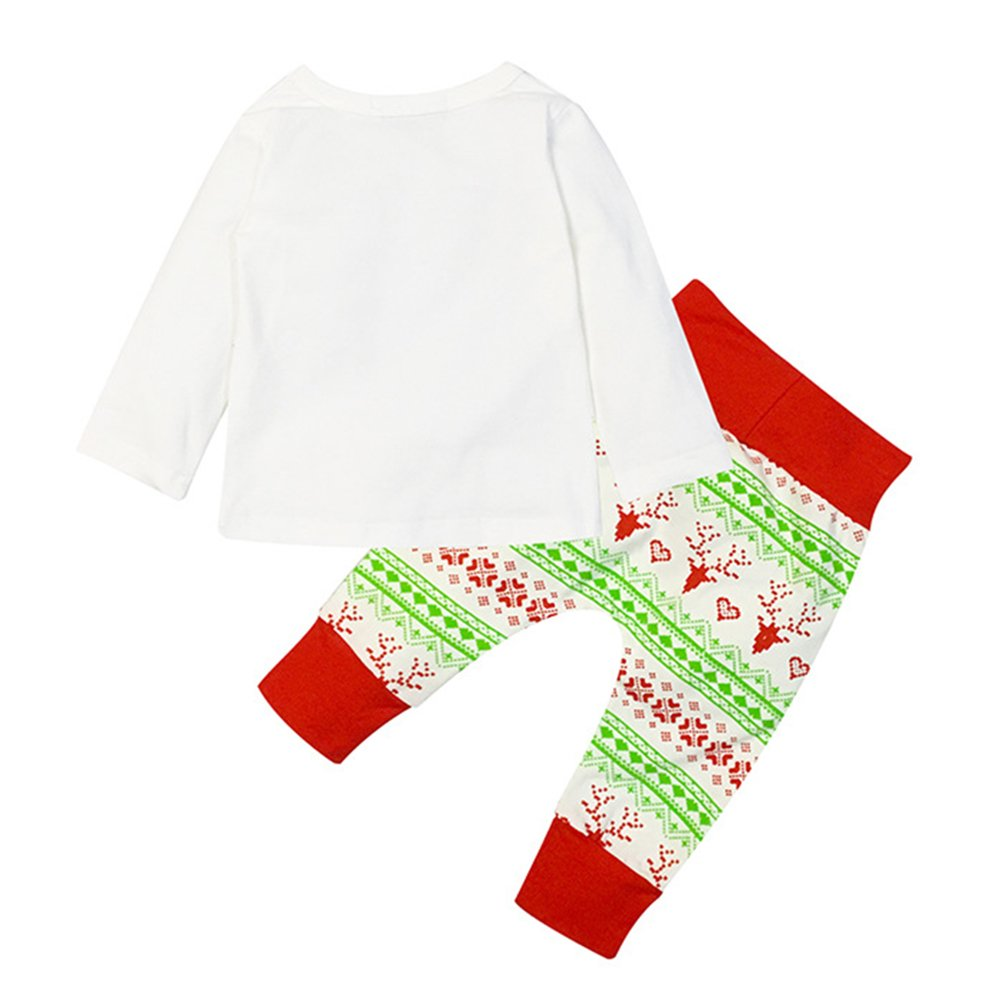 3c8a53cf02 Amazon.com: Angel3292 Newborn Baby Christmas Elf Print Cotton T-Shirt Top +  Long Pants Outfit Set: Clothing
