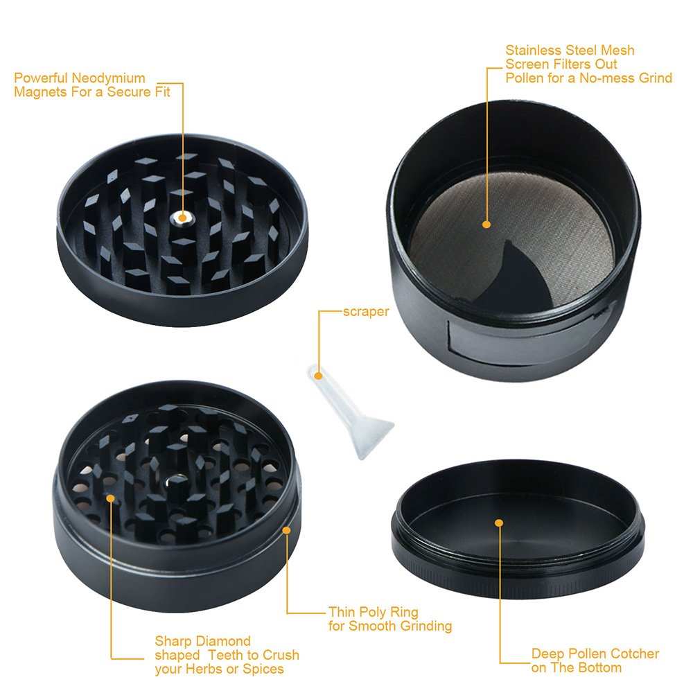 Herb / Spice Kitchen Grinder, Heavy Duty Zinc Alloy Material with Pollen Catcher and Scrapper, Easy Access Window