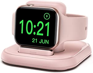 Conido Charging Stand for Apple Watch, Watch Charger Stand with Charging Cable, Magnetic Wireless Charging Station Compatible with Apple Watch SE Series 6/5/4/3/2/1/44mm/42mm/40mm/38mm- Pink