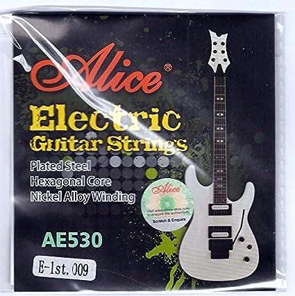 Alice 5 x individual cuerdas cuerdas para guitarra eléctrica 9s luz calibre superior e 1st Plain