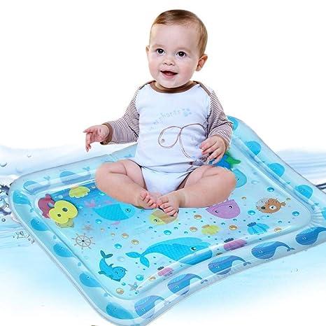 Alfombra Inflable Con Agua Juego de Esterilla de Agua Pvc Grueso Alfombra de Agua Bebes Cojín de Agua para Bebé Infantil de 70 Cm.