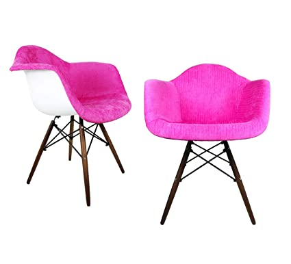 Magnificent Mid Century Modern Velvet Fabric Upholstered Accent Arm Chair With Dark Walnut Wood Eiffel Legs Set Of 2 Pink Dailytribune Chair Design For Home Dailytribuneorg