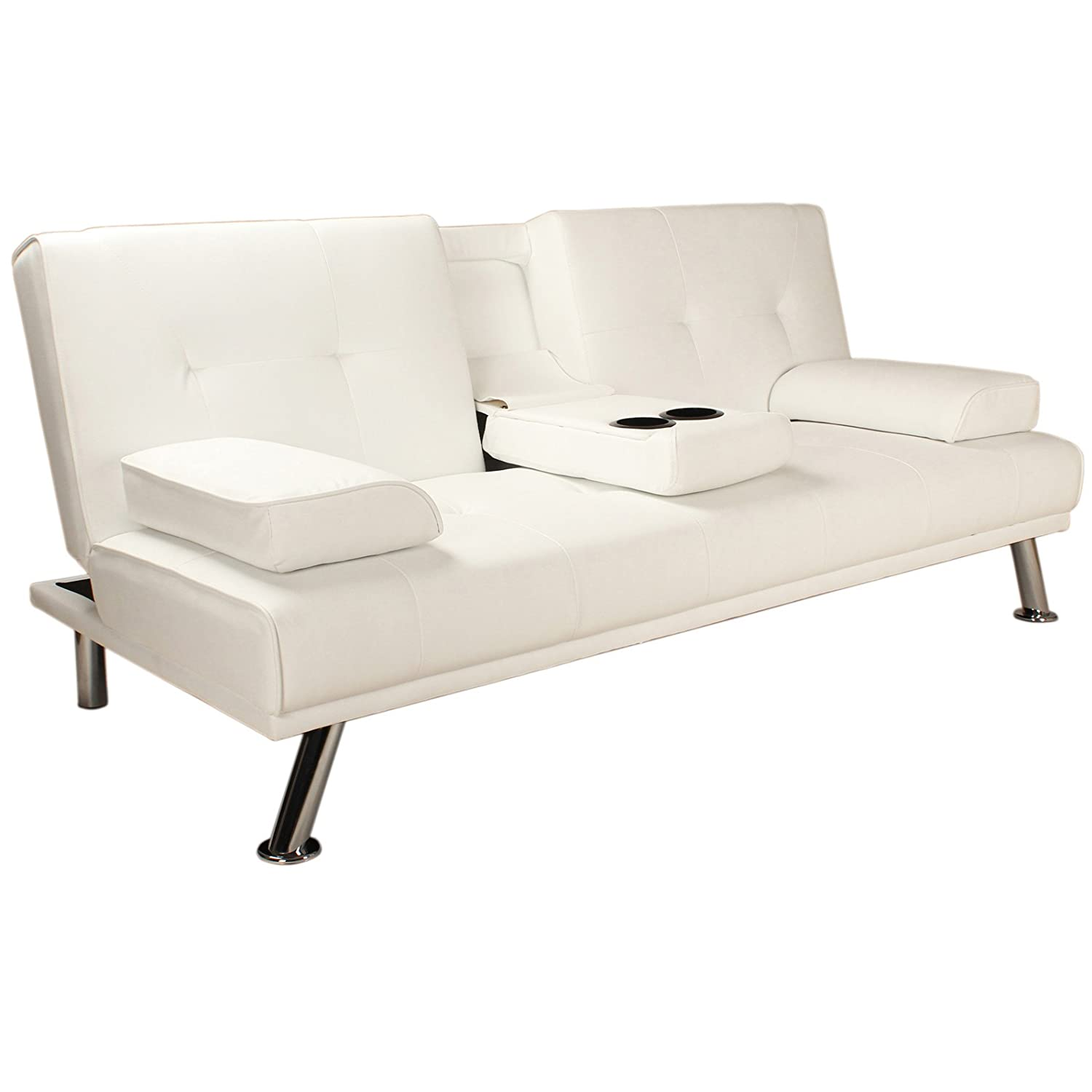 o Clack Sofa Bed with Pillows and Chrome Feet 3