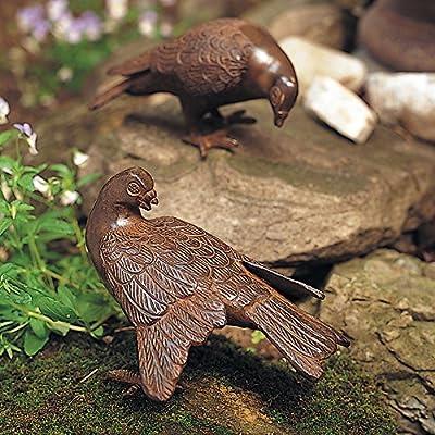 Achla Designs DOV-01 Pair Garden Animal Statuary Ornament Dove Bird, Antiqued Bronze : Outdoor Statues : Garden & Outdoor