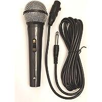 Micrófono vocal tipo dinámico, Conector Jack 6,3 mm Micrófono Dinámico Profesional para Karaoke Cantar con Cable 3m Micrófono Dinámico para Cantar Grabación (Negro-Meta)