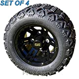 Bulldog 10'' Black Golf Cart Wheels with 18'' All Terrain Tires - Set of 4 - NO LIFT KIT REQUIRED