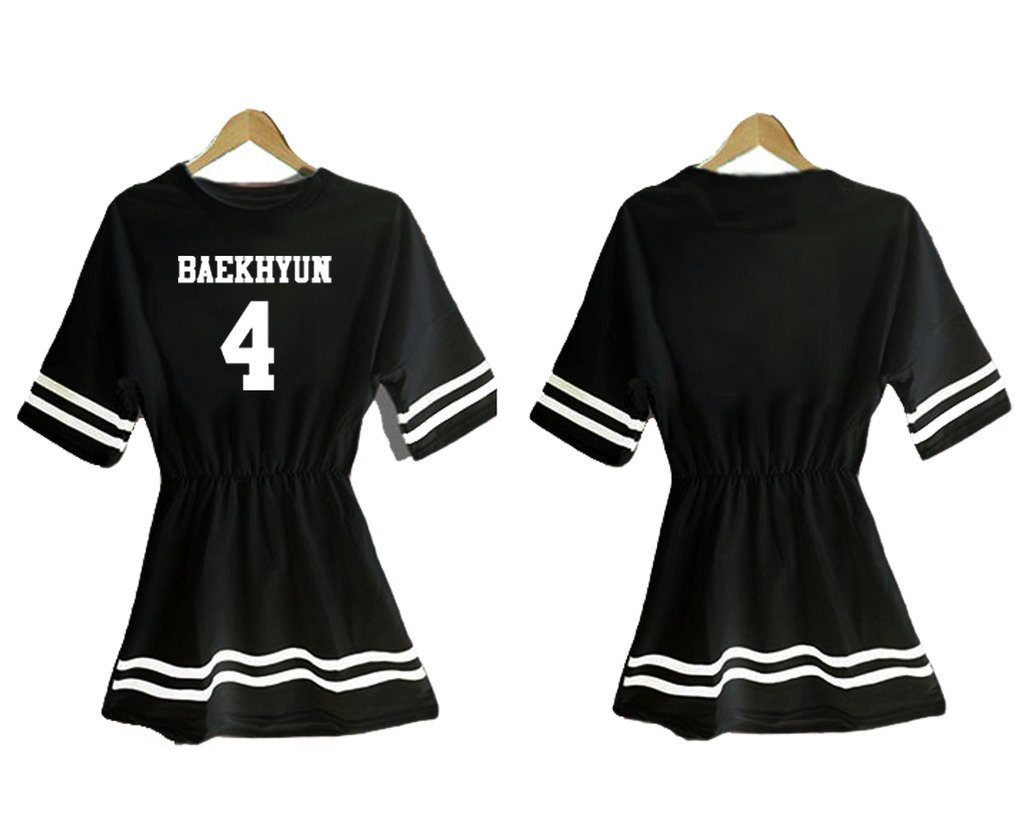 K pop EXO全メンバードレス韓国SM TシャツティーSehun KAI EXO TAO SUHOスカート B018O2NFH0BAEK HYUN 4 Black One Size
