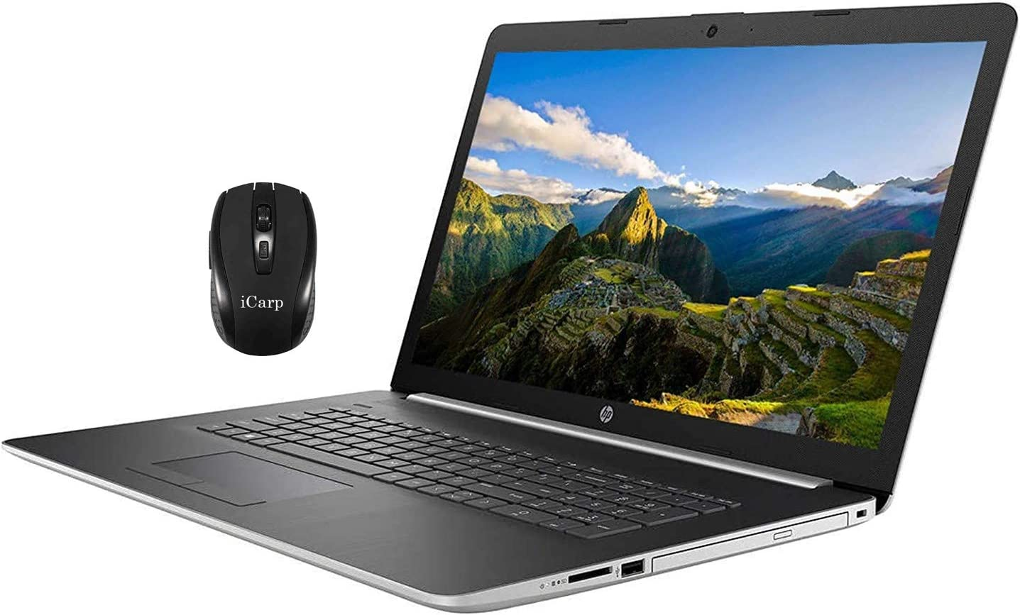 "2020 Flagship HP 17 Laptop Computer 17.3"" Full HD IPS Display 10th Gen Intel Quad-Core i5-1035G1 (Beats i7-8550U) 12GB DDR4 1TB HDD DVD Backlit KB WiFi HDMI Webcam Win 10 + iCarp Wireless Mouse"