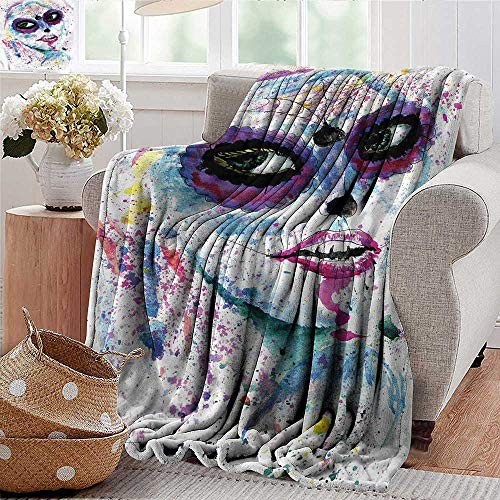 Xaviera Doherty Luxury Flannel Fleece Blanket Girls,Halloween Lady Make Up All Season Light Weight Living Room/Bedroom 50