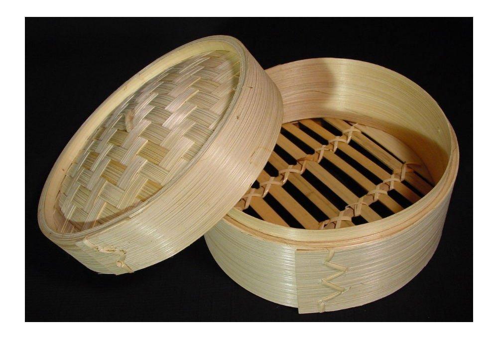 New Dim Sum Bamboo Steamer 2 Piece Set 6'' Diameter