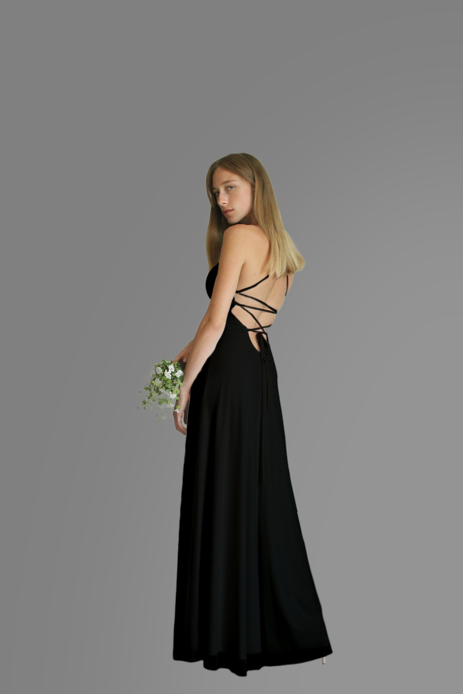 Women's Dress, Black Evening Dress, Size S, Maxi Long Dress for Wedding or Bridesmaid, Chiffon Lycra Classic Gown