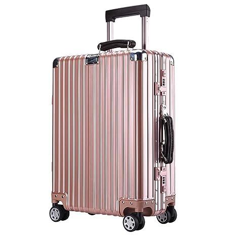 DONG Equipaje de la vendimia aluminio-magnesio aleación de equipaje lanzador maleta , rose gold