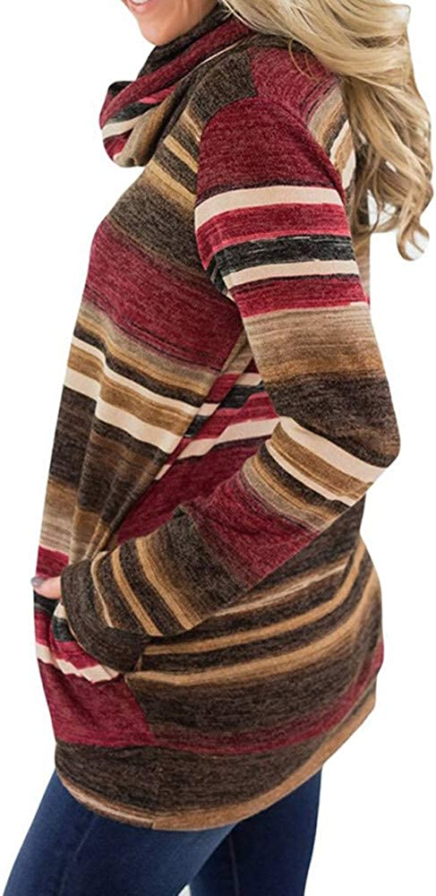 Tops for Womens Cowl Neck Long Sleeve Casual Tunic Sweatshirt Tops with Striped Pattern Londony