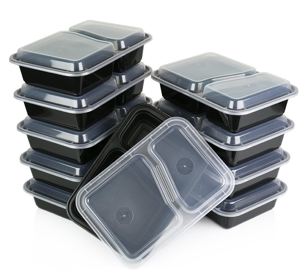 Table To Go 300-Pack Bento Lunch Boxes with Lids (2 Compartment/ 32 oz) | Microwaveable, Dishwasher & Freezer Safe Meal Prep Containers | Reusable Dish Set for Prepping, Portion Control & More (Black)