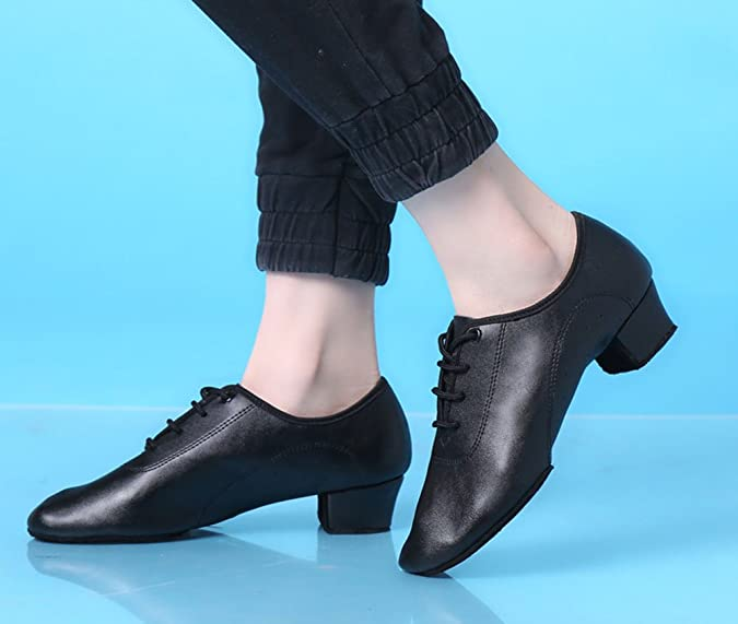 Kids Lace-up Pointy Toe Comfy Cow Leather Shoes Ballroom Boys Swing Heels Comfy