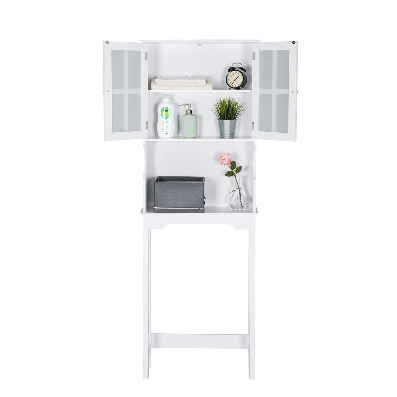 Kinbor 3 Shelf Over The Toilet Bathroom Space Saver, Toilet Organizer with Storage Rack Cabinet